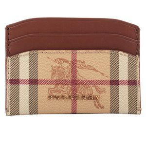 Burberry Brown Haymarket Check Leather Card Case